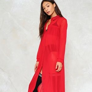 NWOT Red Love You Long Time Mesh Dress